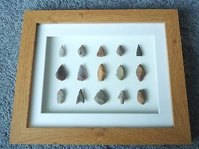 Neolithic Arrowheads in 3D Picture Frame, Authentic Artifacts 4000BC (W017)