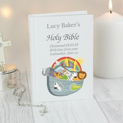 personalised Noah's Ark Holy Bible Communion Christening Confirmation boy girl