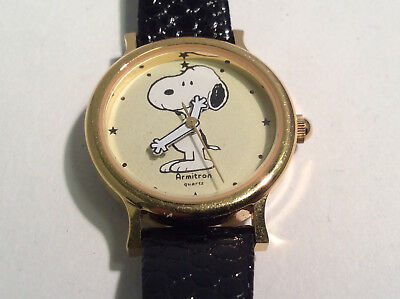 Armitron 900/53 Vintage Snoopy Watch Analog Dial Gold Tone Case Water Resistant