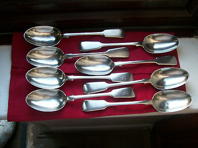 ENGLISH HALLMARKED,VERY RARE SET OF 8,1895 SILVER SERVING SPOON'S,Estate Find.