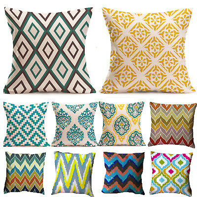 Square Geometric Linen Cotton Cushion Cover Sofa Decoration Throw Pillow Case