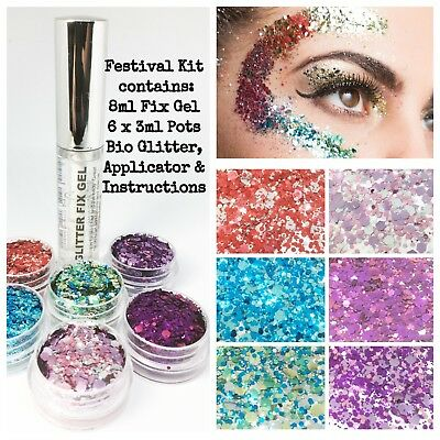 Biodegradable glitter Cosmetic Festival Party Kit, 6 x Glitters & 8ml Fix Gel