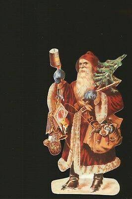 """Old Print Factory - Wonderful Red Santa with Toys & Tree 6 1/2"""" Tall Gift Tag"""
