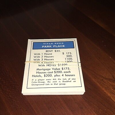 1985 Monopoly Deluxe 50th Anniversary Ed No 007 Complete Replacement Deed Set