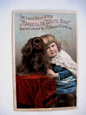 """Victorian Trade Card """"Lautz Bros.Marseilles White Soap"""" Adapted for Fannels  *"""