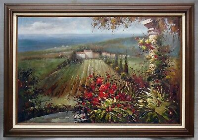 "Framed Oil Painting of Landscape House and Vineyarf Farm Field 42""x30"""