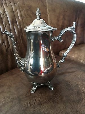 VINTAGE WM. ROGERS FOOTED SILVERPLATE COFFEE/TEA POT with pineapple on lid.