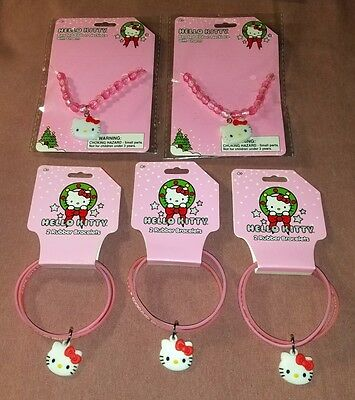 Hello Kitty Jewelry Rubber Bracelet Beaded Ribbon Necklace with Charms Lot of 5