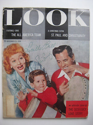 LUCILLE BALL & DESI ARNAZ - AUTOGRAPHED 1956 LOOK MAGAZINE - HAND SIGNED by BOTH