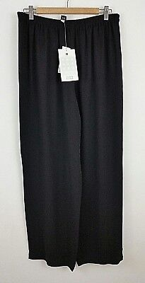 EILEEN FISHER Pant Size PL Black Wide Straight Leg Silk Georgette Crepe NWT $188
