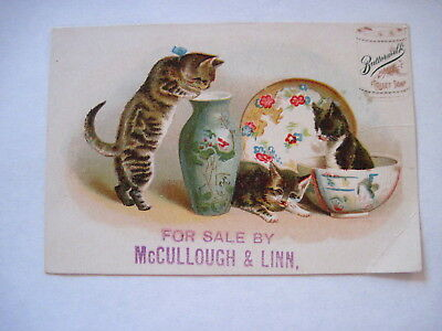 """Victorian Trade Card """"Cosmos Buttermilk Toilet Soap"""" w/ Kittens Playing *"""