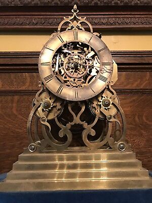 Rare Antique Victorian  Signed English Double Fusee Mantle Shelf Skeleton Clock