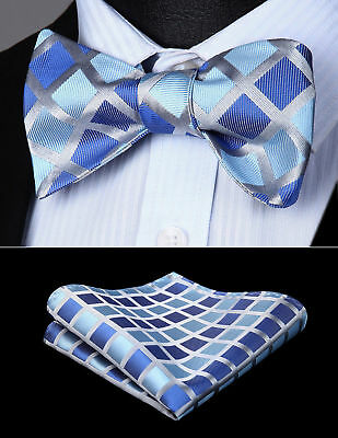 Men Woven Navy Blue Check Self Bow Tie Pocket Square Butterfly Silk Set#BC719BS