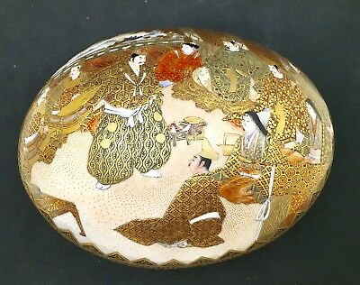 Japanese Meiji Satsuma Box - Ostrich Egg, Signed