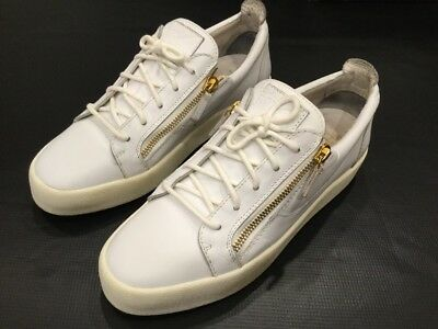 261672287916 Giuseppe Zanotti White Low Top Tops Sneakers Shoes Size 46 13 Us Gold  Zippers
