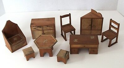Lot Antique Inlaid Wood Dollhouse Furniture 9-piece Japan 1:12 Unusual