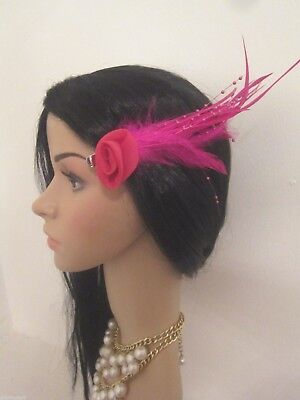 Pink Beaded Feathered Hair Net Flower Beak Fascinator Corsage Feather Wedding
