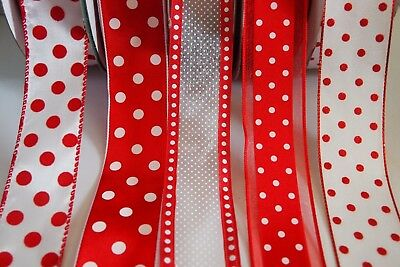 "5 Yards SALE Black White Polka Dots Polkadots Satin Ribbon 7//8/""W"