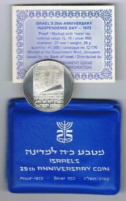 1973 ISRAEL Proof 10 SILVER LIROT 25TH ANNIVERSARY OF INDEPENDENCE COIN 26 grams