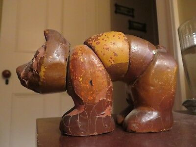 old 1920s wood composition Twistum TWISTUMS wolf Wolfie toy jointed poseable