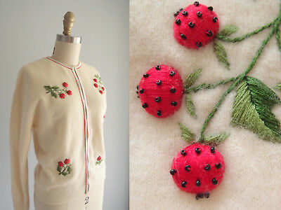 1950s 50s vintage Cardigan Sweater Ivory white beaded embroidered Red Berries 38