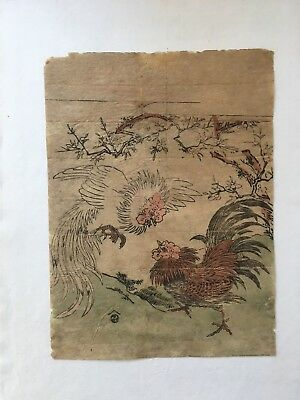 Koryusai, Cocks, Japanese Woodblock Print, Ukiyo-e