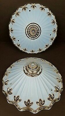 (2) Vintage Art Deco Frosty Blue Glass 3 Hole Ceiling Fixture Shades Salvaged VG
