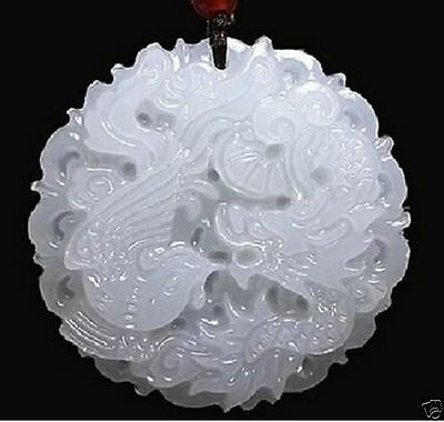 100% natural hand-carved Chinese jade pendant - dragon Phoenix Natural