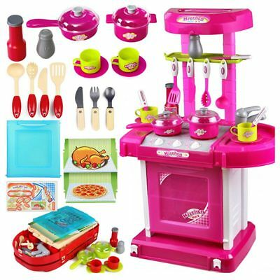 able Pink Electronic Children Kids Kitchen Cooking Girl Toy Cooker Play Set Z9R6