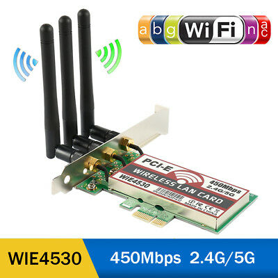 450Mbps Wireless WiFi PCI-E Network Adapter LAN Card+Antennas Desktop PC 5300