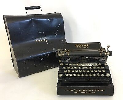 Royal Standard Typewriter Antique 1910 Black Flatbed w/ Rare Case Cover