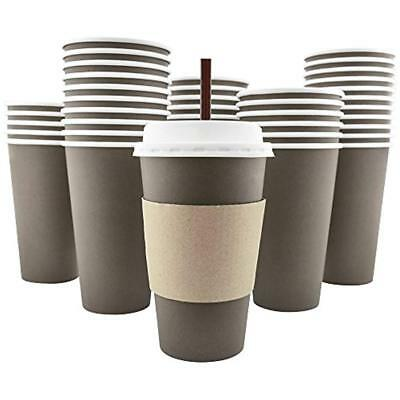 100 Pack - 16 Oz 8, 12, 20 Disposable Hot Paper Coffee Cups, Lids, Sleeves, To