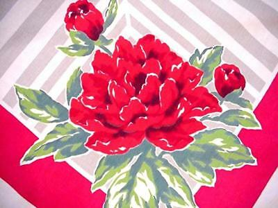 Vintage RED PEONY Cottage Tablecloth GARDEN FLORAL Stripe Background UNUSUAL!