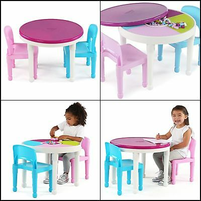 Kids 2-in-1 Plastic LEGO-Compatible Activity Table & 2 Chairs Set, Bright Colors