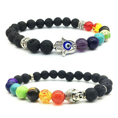 7 Chakra Women Men Bracelet Healing Yoga Reiki Buddha Beaded Charm Jewelry Gift