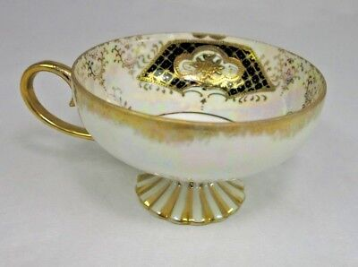 Vtg Royal Sealy Iridescent Blue Gold Footed Pedestal Tea Cup Lusterware Japan
