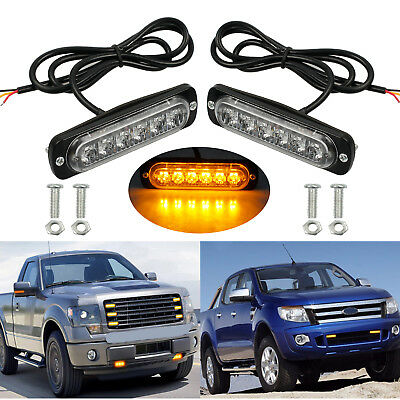 2X 6-Cree LED Amber Recovery Lights Car Truck Breakdown Emergency Flashing Lamps