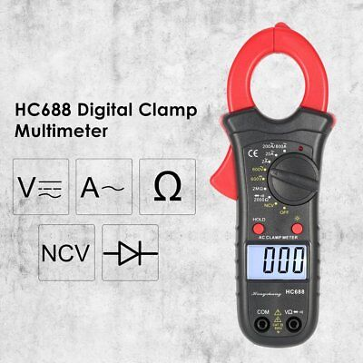 HC688 Digital Clamp Meter Multimeter AC/DC Volt Amp Ohm NCV Tester 1999 Counts Y