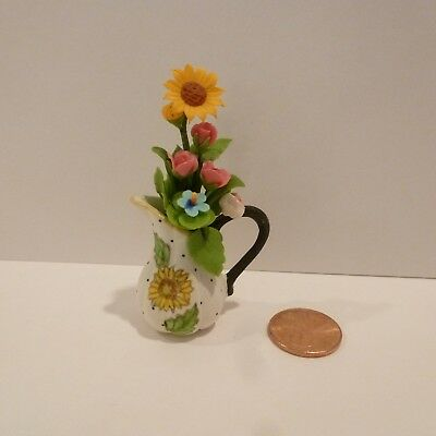 Miniature Flowers In A Pot Pitcher With Sunflower Design