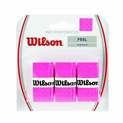 Wilson Pro Overgrip Perforated 3 Pack - Tennis - Badminton - Squash Pink