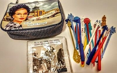 LOT of AIRLINE Collectibles-Vintage Drink Stirrers,Anne Taintor TWA bag.Napkins