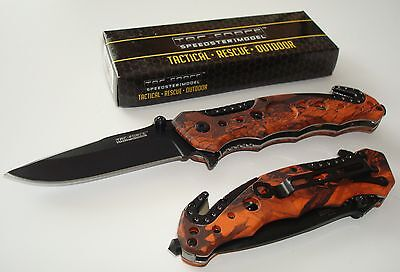 Tac-Force New Spring Assisted Opening Rescue Knife Glass Breaker - Red Camo