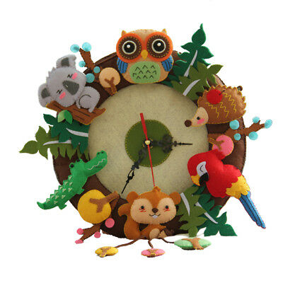 Animals Clock Felt Applique Kit Handmade Felt Materials Package Home Decor