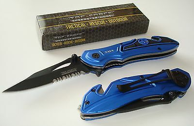 New Tac Force Assisted Opening Speedster Blue Rescue Knife Glass Breaker - Navy