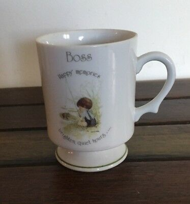 "Holly Hobbie 1975 Coffee Mug ""Boss"" Happy Memories Brighten Quiet Hours EC"