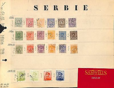 SS3149 1881-1914 SERBIA. Original album page from old-time collection