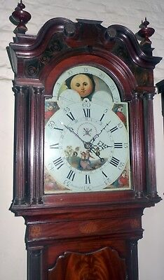 Geo III Mahogany 8 Day Longcase Clock with Moon Dial