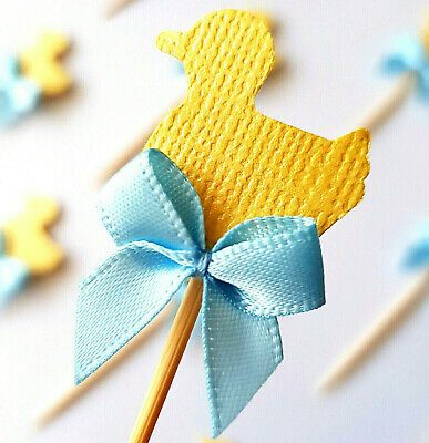 12x Yellow Little Duck Cupcake Toppers w Blue Ribbons (baby shower decorations)