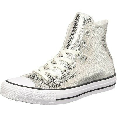 66562cda1f5b Converse Chuck Taylor All Star Metallic Scaled Hi Silver Leather Adult  Trainers