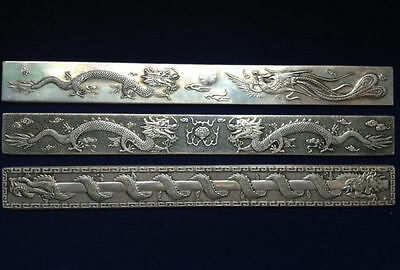 3 pc Old Chinese Exquisite carving Silver Bullion Dragon and Flaming Pearl AAA